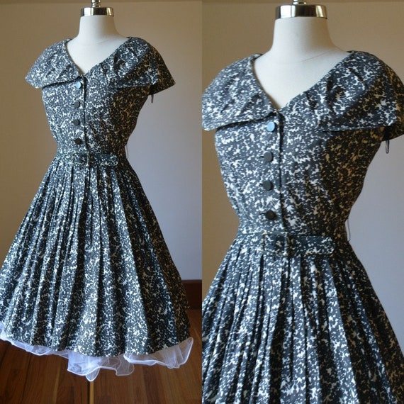 1950's Black And White Day Dress Size Women's Sm 6