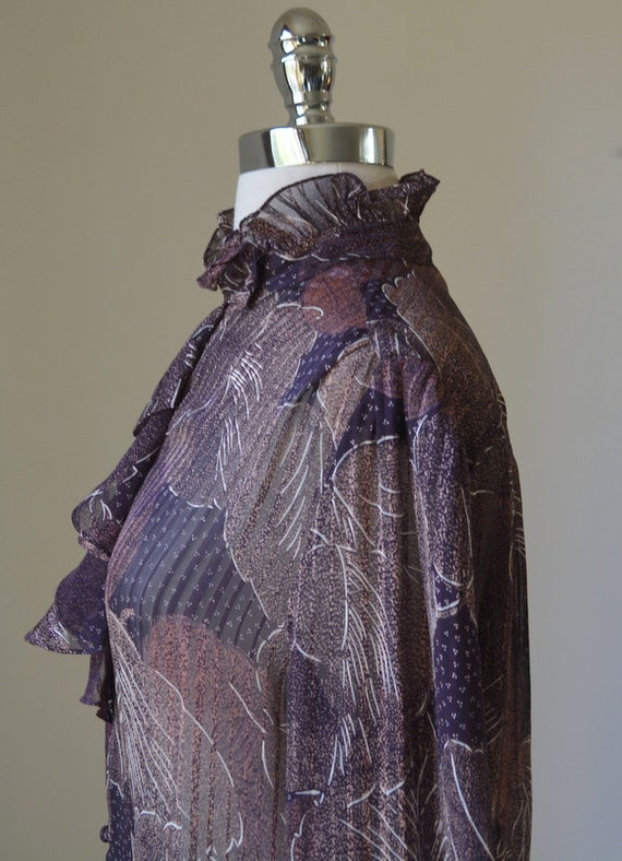 80's Vintage Long Sleeve Slightly Shear Blouse Wi… - image 5