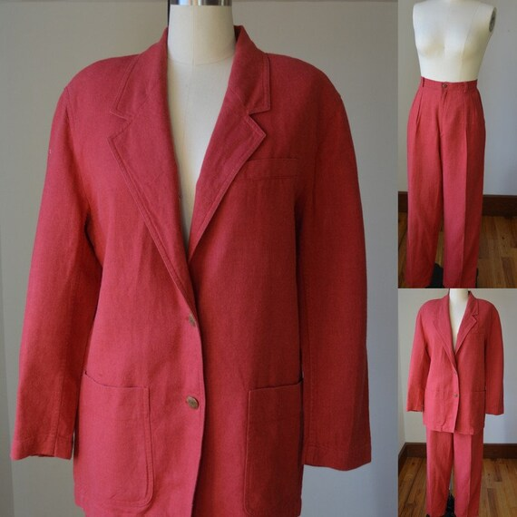 1990's Two Piece Red Linen Pants Suit By Liz Sport