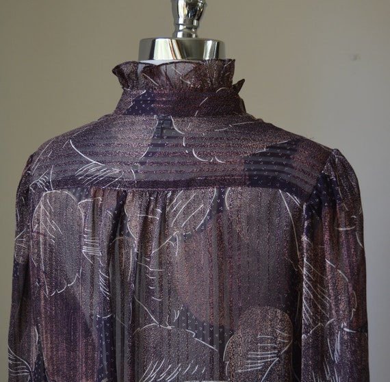 80's Vintage Long Sleeve Slightly Shear Blouse Wi… - image 8