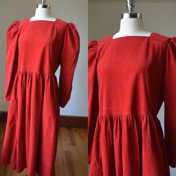 90's Vintage Bright Red Laura Ashley Corduroy Dres