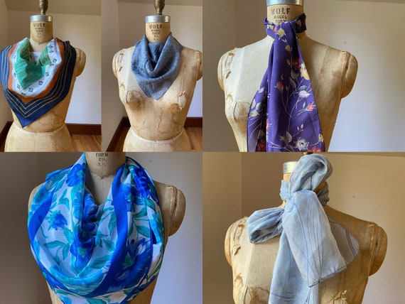 Collection of five vintage dress scarves, one pri… - image 1
