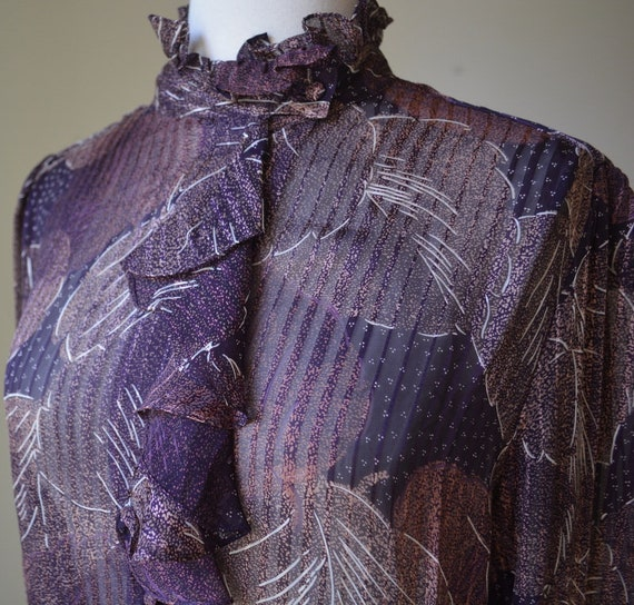 80's Vintage Long Sleeve Slightly Shear Blouse Wi… - image 3
