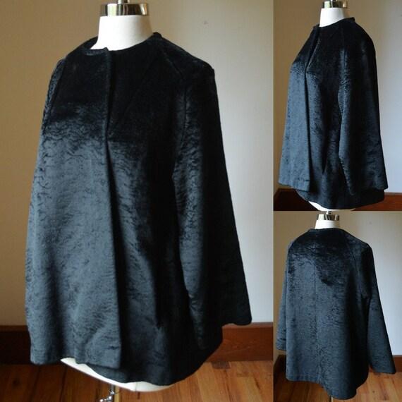 1950's Black Curly Lamb's Wool Coat Size Women's M