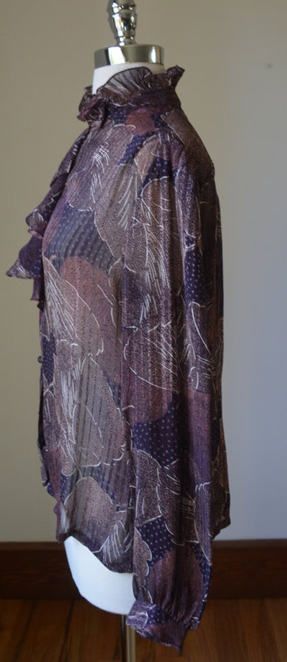 80's Vintage Long Sleeve Slightly Shear Blouse Wi… - image 4