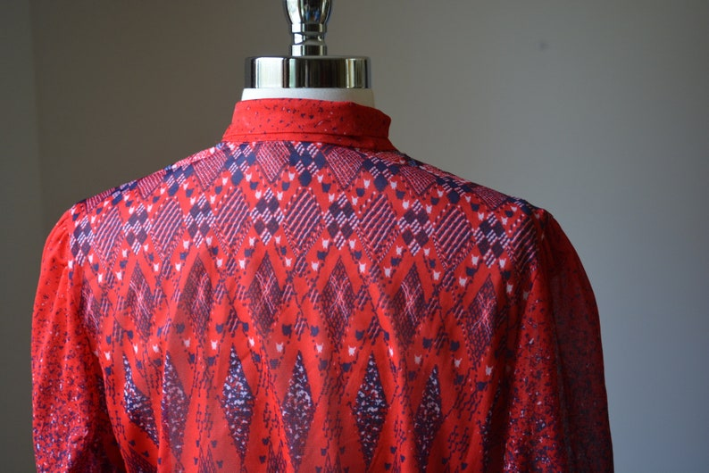 Vintage 1970/'s Red Geometric Dress With Neck Tie By The Jones Girl Size Small Vintage Slightly Sheer Long Sleeve Red Dress Size Small