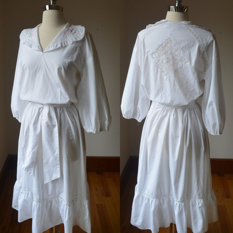 80s Dresses | Casual to Party Dresses 1980s Vintage English White Cotton Embroidered Farm Dress Womens Size 68 By Whip-O-Will, Crisp Peasant Sm $0.00 AT vintagedancer.com
