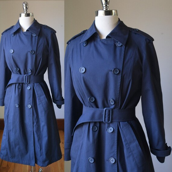 80's Vintage Navy Blue Lined Trench Coat With Wais