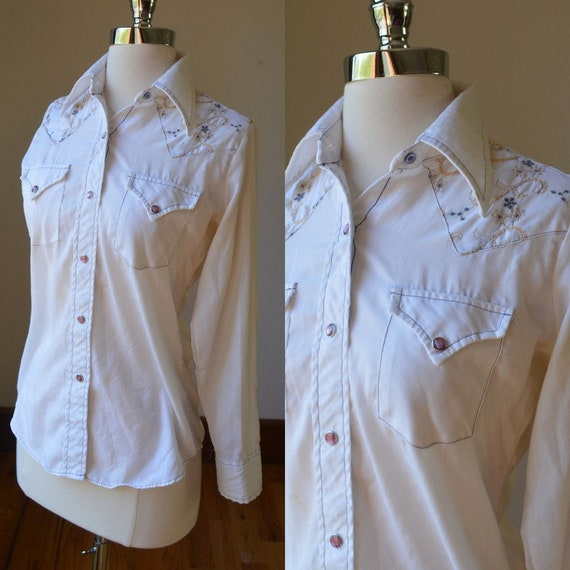 70's Vintage Southwestern Cowgirl Shirt With Snap