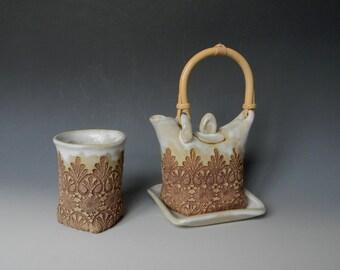 Handmade Ceramic Lace-Impressed 1-Cup Tea Set