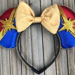 Captain Marvel Inspired Mouse Ears w/ Bow
