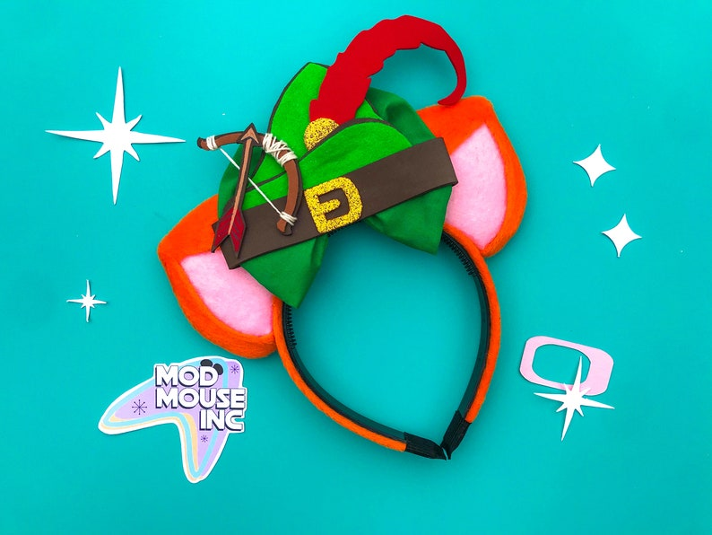 Robin Hood Fox Ear Headband with Bow  Robin Hood Mickey Ears image 0