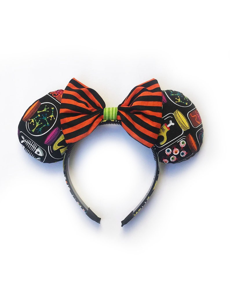 Monster Stripes Ear Headband with Bow Ready to Ship image 0