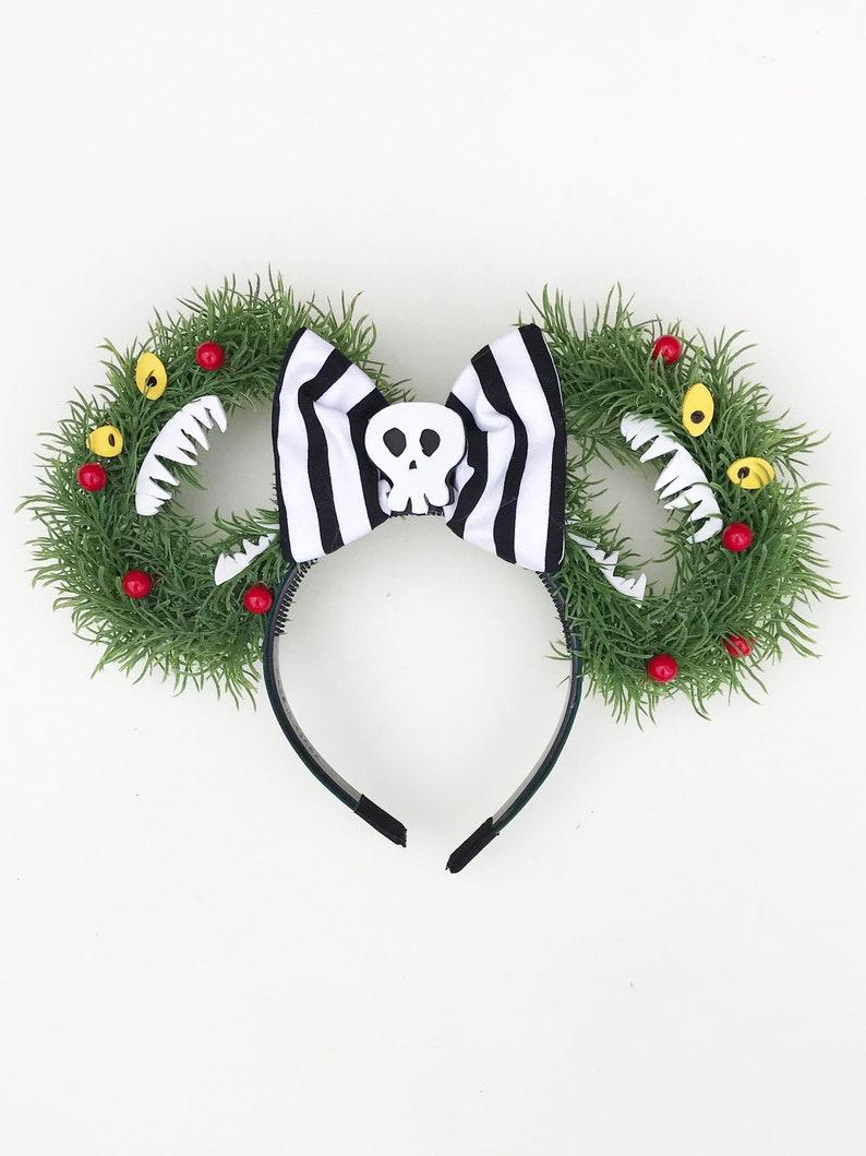 Nightmare Before Christmas Haunted Wreath Mouse Ear Headband image 0