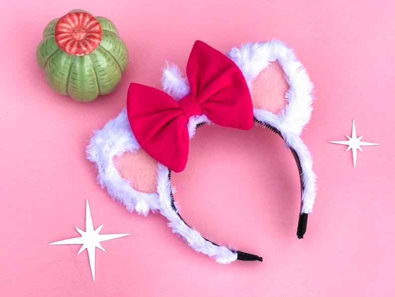 Marie Cat Ear Headband w/ Bow  Aristocats Marie Inspired Cat image 0