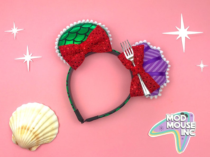 Ariel Double-Bow Mouse Ears with Fork  The Little Mermaid image 0