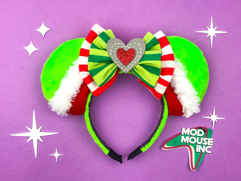 Grinch Mouse Ears with Fork  Holiday Mickey Mouse Ears  Dr. image 0