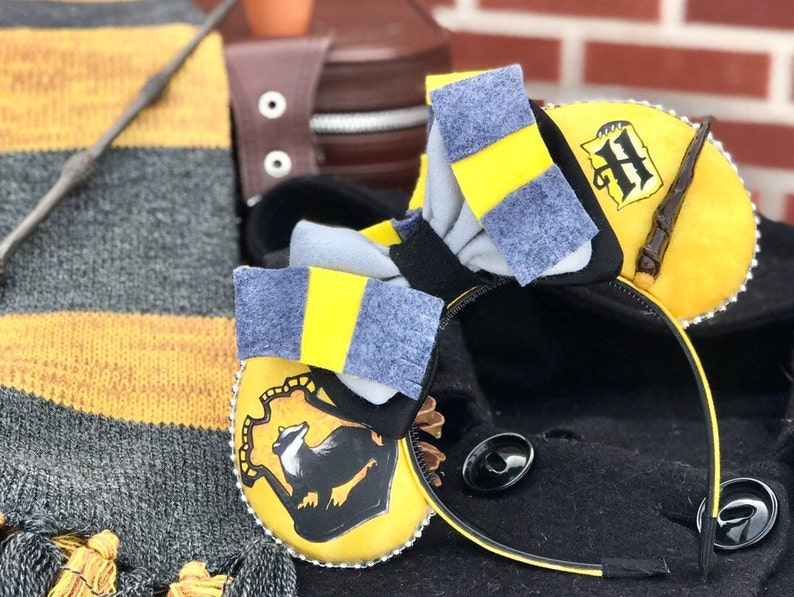 Hufflepuff Mouse Ears w/ Bow image 0