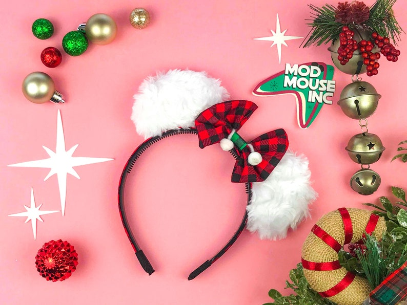 Snowball Red w/ Green Flannel Mini Mouse Ears  Christmas image 0
