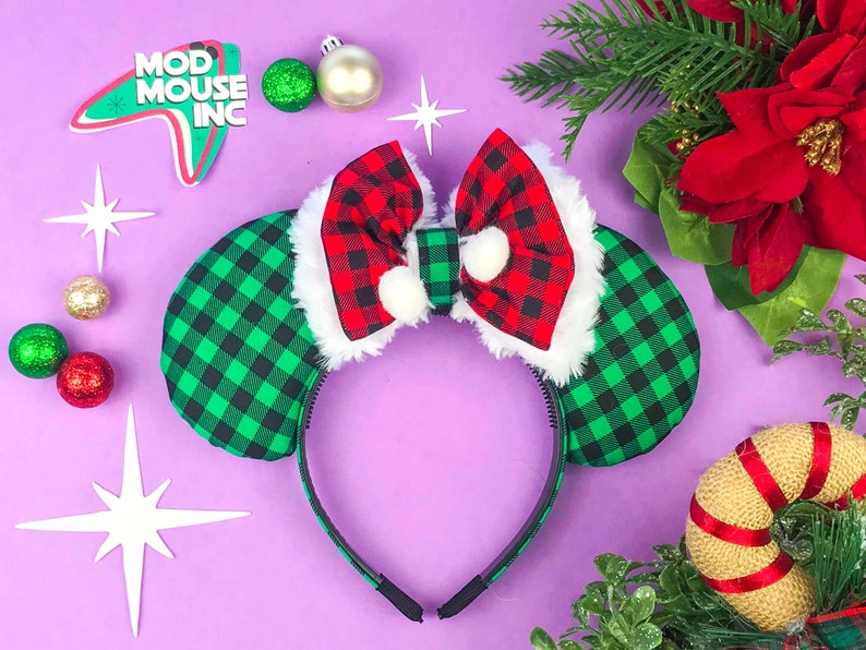 Green Flannel Christmas Mouse Ears w/ Red Flannel and Faux Fur image 0