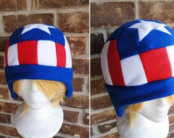 e73af5d397086 Captain America Hat - Fleece Hat Adult