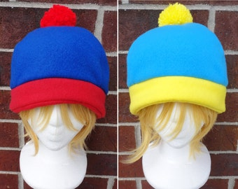 Stan, Cartman, or Craig Tucker South Park Costume Hat - Fleece Hat Adult, Kid - Christmas Gift, Holiday Gift, or a winter, nerdy, geek gift!