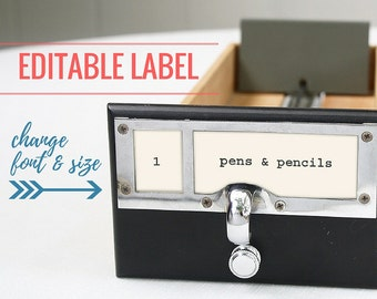 Editable Labels for Library Card Catalog Drawer (Instant Download)