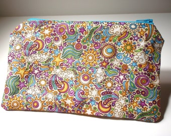 Cosmic Clutch - Cotton zippered pouch with shooting stars