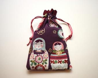 Maroon Nesting Dolls Tarot bag (small-medium)