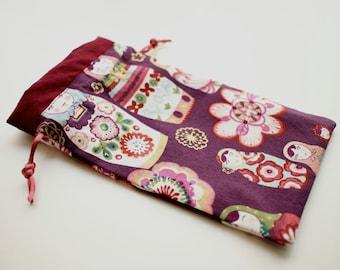 Maroon Nesting Dolls Tarot bag (medium-large)