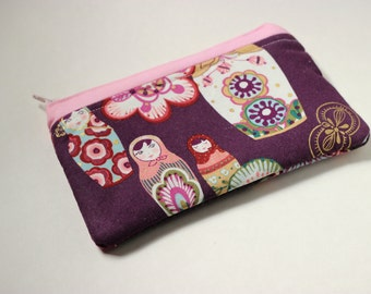 Pink and Maroon Nesting Dolls Padded Glasses Case or Mini-Clutch
