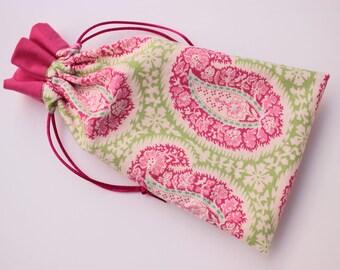 Pink Paisley Tarot Bag with Pink Trim, Large