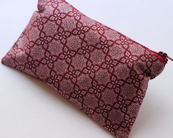 Red Medallions Cotton Clutch (small)