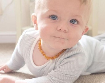 Personalized baby necklace - amber teething necklace - initial jewelry - nursing jewelry - baltic amber necklace - golden
