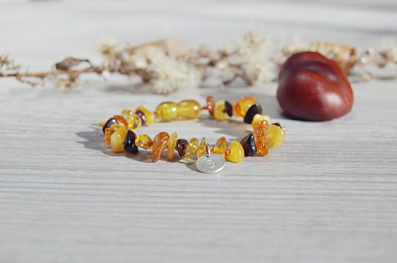 Genuine Baltic Amber Baby Bracelet Personalized image 0