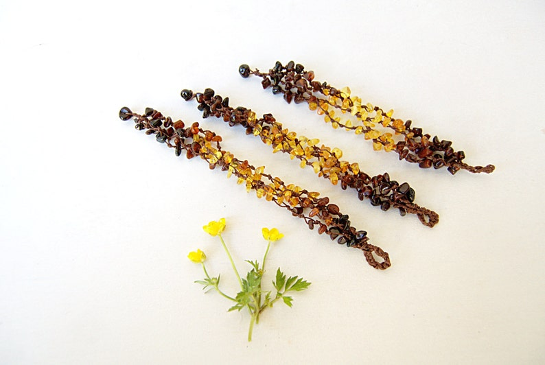 Natural Baltic amber bracelets gift for bridesmaids set of 3  image 0