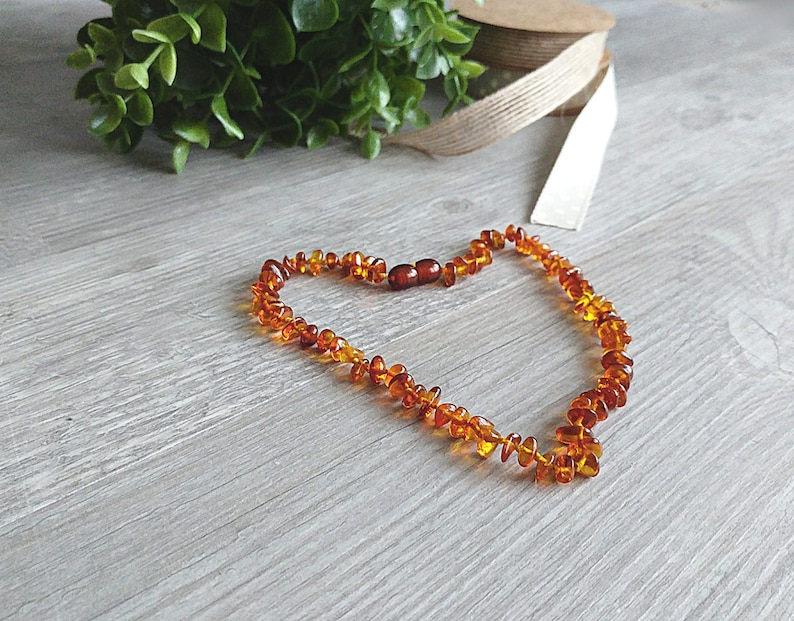 Natural amber teething necklace from cognac coloured amber image 0