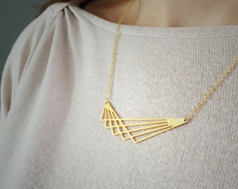 Silver or gold Geometric line graph necklace