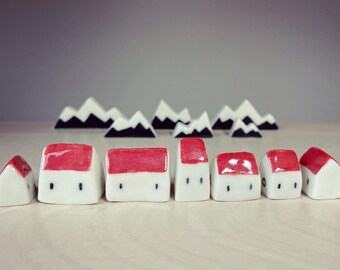 Set of 7 ceramic miniature village of tiny houses with red roofs ornament - made from porcelain