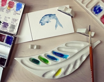 Ceramic leaf watercolour paint pallet made from porcelain
