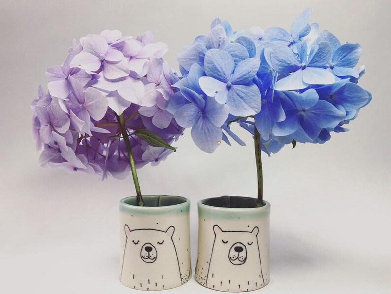 Unique handmade ceramic Bear stem vase with jade rim and inner image 0