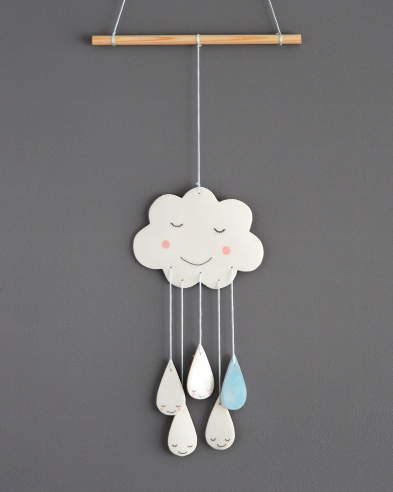 Ceramic cloud and rain drop mobile wall hanging art image 0