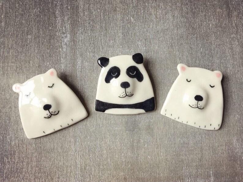 Ceramic bear brooch pin  polar bear & panda badges image 0