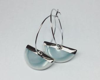 Silver bar and slate grey half moon porcelain earrings on silver hoops