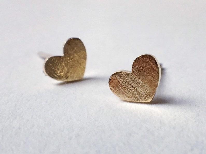 Gold or silver mini love heart stud earrings image 0