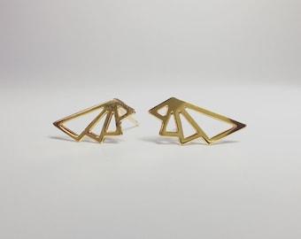 Gold or silver geometric Art Deco triangle stud earrings