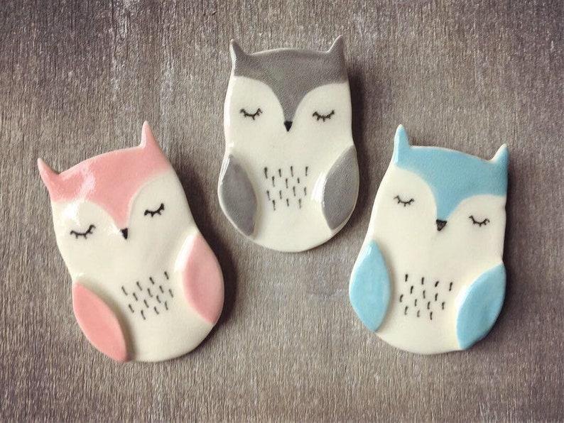 Ceramic owl brooch pin  pink blue or grey owl Pink