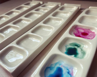 Ceramic rectangle watercolour paint pallet made from porcelain
