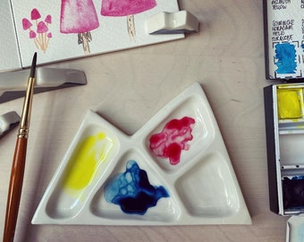 Ceramic mountain watercolour paint pallet hand carved made from porcelain
