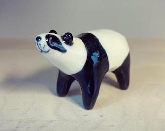Ceramic panda bear ring holder / totem / figurine